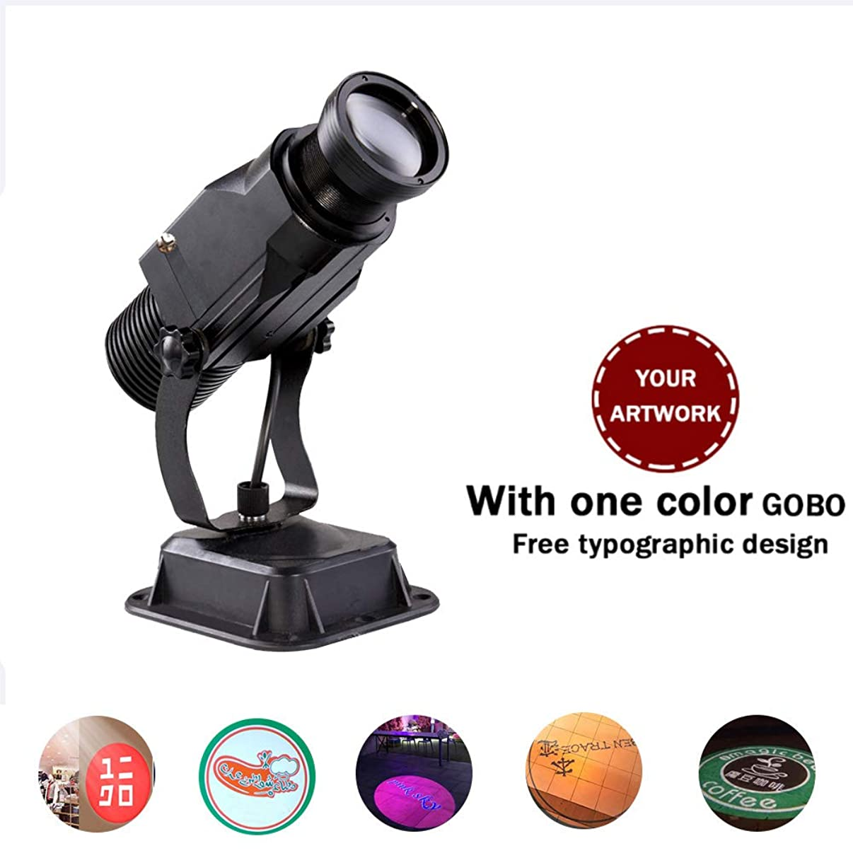 AMAZOIN Led Custom Image GOBO Logo Projector Light with Manual Zoom&Focus Customized Gobos for Party Lighting, Landscape Light, Dj Wedding and Advertisement (15W, Indoor Plug-in Card)