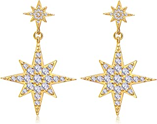 Starburst Dangle Earrings for Women Girl 14K Gold/Silver Plated Fashion Star Drop Earring Dainty Jewelry Christmas Birthday Gift