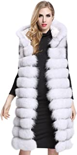 Aukmla Women's Faux Fur Sleeveless Vest with Hood and Pockets Waistcoat Warmer Gilet Long Outwear
