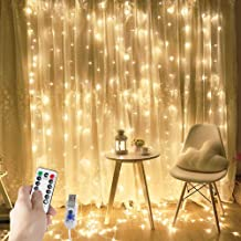 Curtain Lights String,USB Powered Curtain Fairy Lights,(300 LED 9.8Ftx9.8Ft) IP64 Waterproof Twinkle Wall Lights for Bedroom,Wedding,Christmas Decorations,Warm White