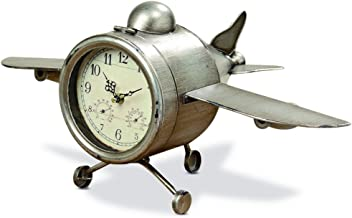 WHW Whole House Worlds 12.25 Inch Airplane Clock, Over-Sized, Floor or Desk Top, Glass Face, Lacquered Polished Iron, Battery Powered, Improved Packaging