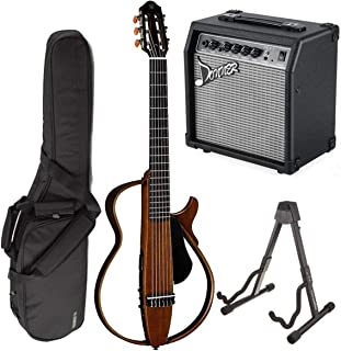 Yamaha SLG200N Nylon Silent String Acoustic Electric Guitar Natural bundled with the Donner 10W Electric Guitar Amplifier, Gigbag, and Guitar Stand