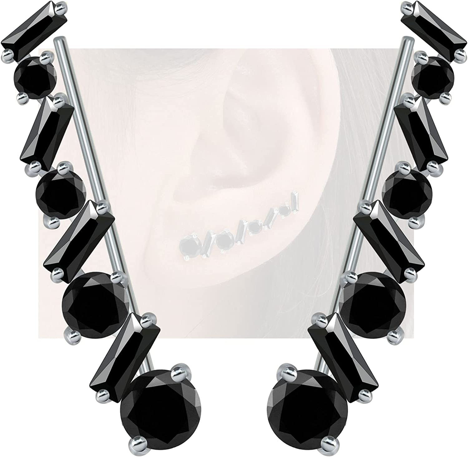 At Special sale item the price of surprise NEOSHOW Sterling Silver Ear Climber Cuffs W Earrings Crawler for