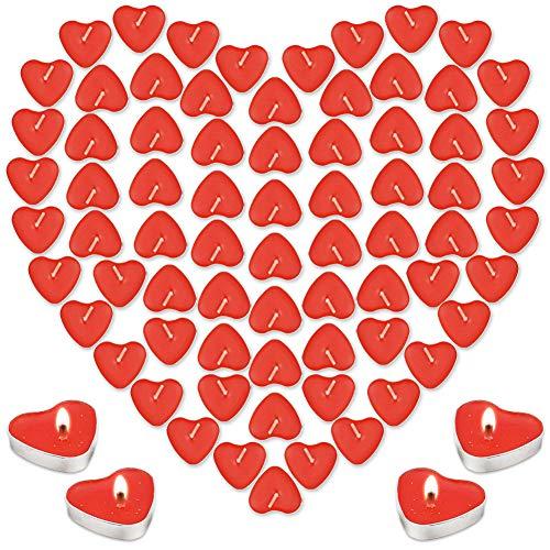 Kerzen Set Liebe Herz 100 ,Teelichter Herzform ,Teelichter Rot Rauchfreie,Kerzen Deko,Herzform Romantische Valentinstag Kerzen für Valentinstag, Vorschlag, Hochzeit,Jubiläum, Verlobung, Geburtstag