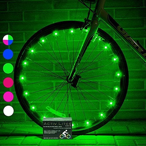 Activ Life LED Wheel Lights (1 Tyre, Green) Fun Bicycle Spoke Wire & Bike Frame Safety String Lights - Best Wheelchair & Top Baby Stroller Accessory for Men, Women, Children and Popular Teens