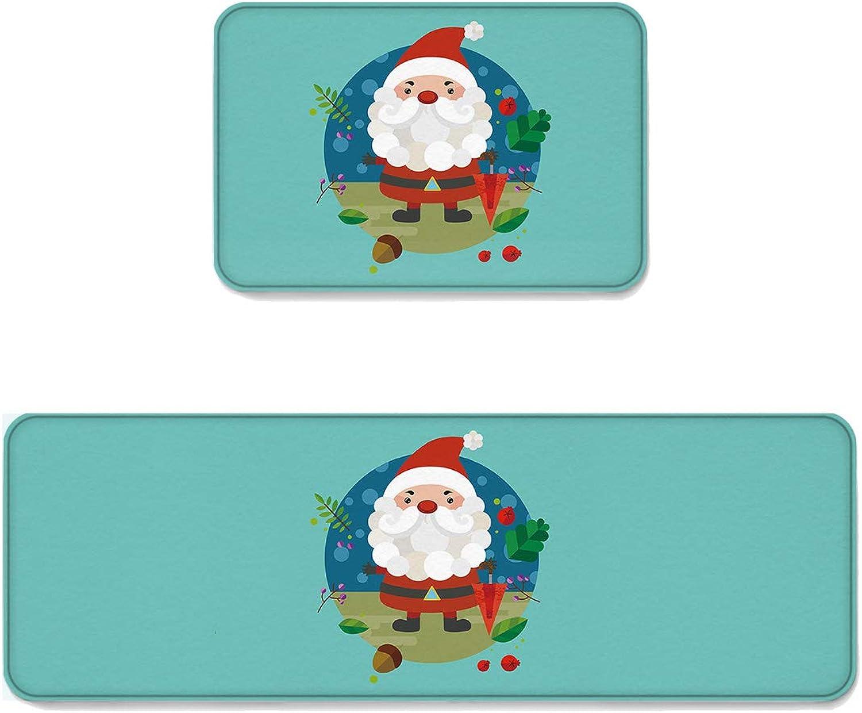 2 pcs Kitchen Mat Doormat Runner Rug Set, Kids Area Rug Bedroom Rug Non-Slip Rubber Backing Door Mats Cartoon Christmas Santa with Umbrella Bell on Tropical Leaves Pattern 19.7''x31.5''+19.7''x63''