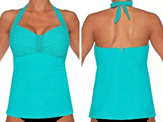 Sunsets 52 Nautical Net Tropical Teal Underwire?Sweetheart?Tankini?with?Foam?Bra - Size 36D