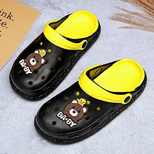 slippers women,Zapatos para niños Zapatos para niños Zapatillas para niños Muchachos y niñas antideslizantes inferiores blandas para interiores anti-colisiones sandalias zapatillas verano-negro_26