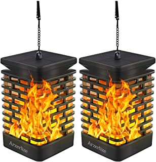 Arzerlize Solar Lanterns Lights Outdoor, Hanging Lantern Dancing Flame Flickering Garden Decoration Lamp Deck Waterproof LED Landscape Dusk to Dawn Auto On/Off Patio Yard Clearance Yellow 2 Pcs
