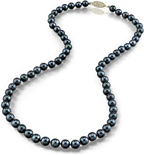 "THE PEARL SOURCE 14K Gold Round Genuine Black Japanese Akoya Saltwater Cultured Pearl Necklace in 18"" Princess Length for Women"