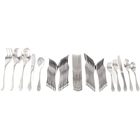 Knork Original Cutlery Utensils 45-Piece Flatware Set, (Service for 8), Silver Matte
