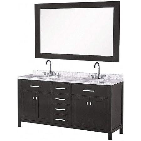 Luca Kitchen Bath Lc61cew Geneva 61 Double Vanity Set In Espresso With Carrara Marble Top Sink And Mirror