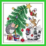 Printed Cross Stitch Kits 11CT 14X14 inch 100% Cotton Holiday Gift DIY Embroidery Starter Kits Easy Patterns Embroidery for Girls Crafts DMC Stamped Cross-Stitch Supplies Needlework Christmas Tree