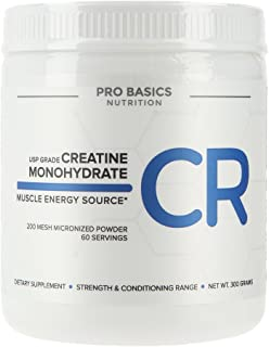 Pro Basics USP Grade Creatine Monohydrate, Micronized Pure Powder, 10.6 oz (300g)