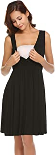 Ekouaer Women's Nursing/Delivery/Labor/Hospital Nightgown Sleeveless Maternity Nightgown Sleepwear