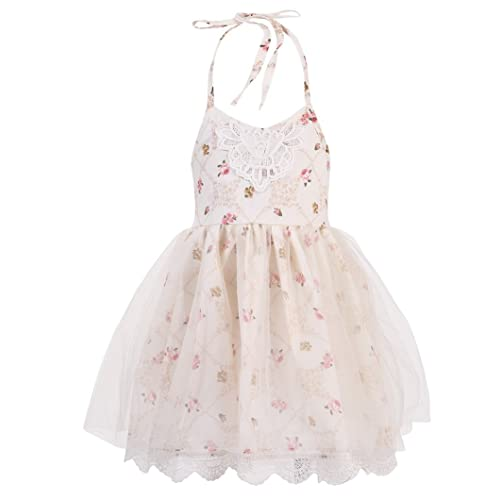 7a374ea97cdc Halter Backless Dress for Girls - Floral Strap Sundress with White Tulle  Lace