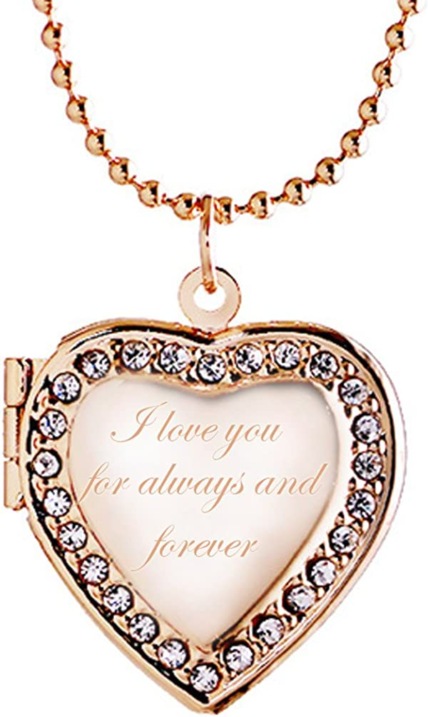 Latigerf I Love You for Always and Forever Heart Locket Necklace Engraved Pendant Hold Picture