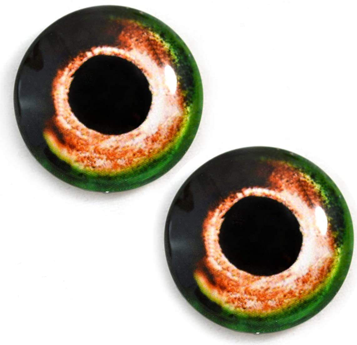 30mm Orange and Green Fish Glass Eyes Realistic Pair for Art Dolls, Sculptures, Props, Masks, Fursuits, Jewelry Making, Taxidermy, and More