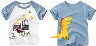 Jsmiten Little Boys Summer Shirt Toddler 2-Pack T-Shirts Big Boys Short-Sleeve Shirts Tops