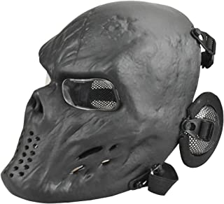 JFFCESTORE Tactical Airsoft Mask, Full Face pc Clear Lens Paintball Mask Anti Fog with Metal Mesh Ear Protection for BB Gu...