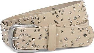 styleBREAKER cinturón de mujer con remaches de estrellas y estrás, superficie en óptica de pinceladas, cinturón de remache...