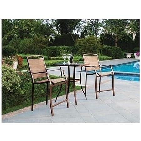 Amazon Com 3 Piece Bar Height Bistro Table Chair Set Patio Furniture Outdoor New Deck Backyard Garden Outdoor