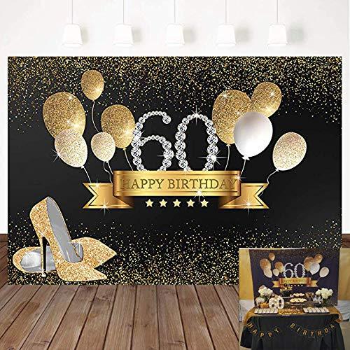 Mocsicka Golden Balloons 60th Birthday Backdrop High Heels Woman Birthday Party Banner Decoration 7X5ft Vinyl 60th Birthday Party Background Photo Studio Props