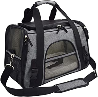 Texsens Airline Approved Pet Carrier, Soft-Sided Cat Travel Carrier for Cats and Small Dogs (Dark Grey)