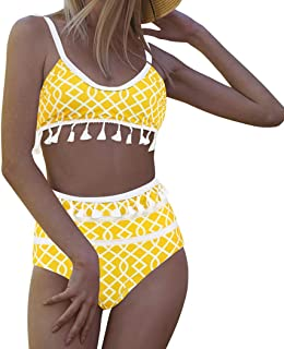 MOSHENGQI Women Mesh Tassel Bikini Set High Waist Swimsuit Bottom