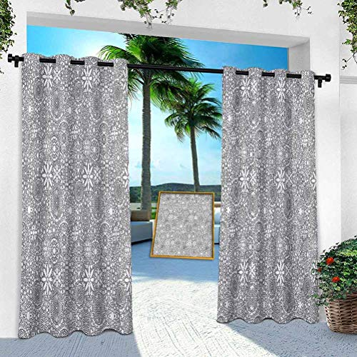 Aishare Store Patio Outdoor Curtains, Circle, Motifs Monochrome, W 52' x L 84' Window Treatment Panel for Porch Balcony Pergola Gazebo(1 Panel)
