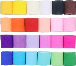 Caveen Papier Crépon 24 Couleurs, 10m*5cm Papier Décoratif en Crêpage Bande de Crêpe Multicolore pour Diverses Décorations...