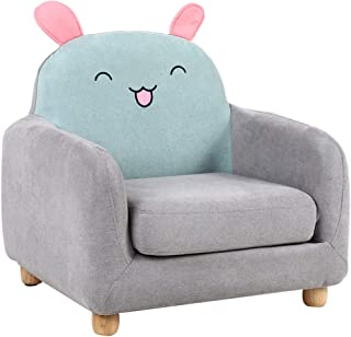 Children'S Upholstered Armchairs-Removable, Easy To Clean, Animal Cartoon Mini Sofa For Boys And Girls,Blue-rabbit