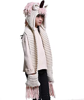 Girls Kids Crochet Cartoon Unicorn Winter Hat with Scarf Pocket Hooded Knitting
