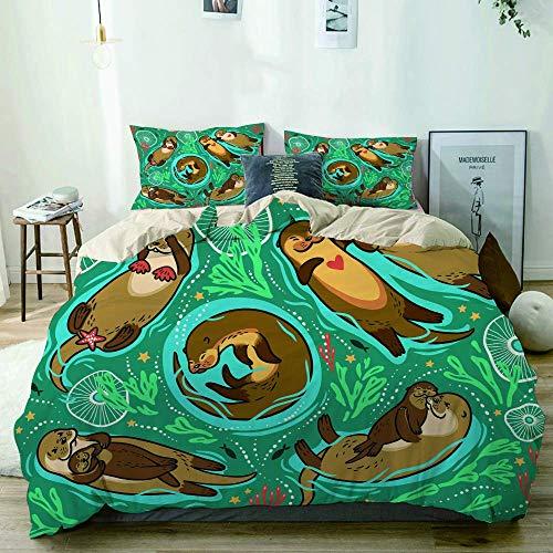 772 AQL Parure de lit avec Housse de Couette en Microfibre,adorables loutres Brunes et algues décoratives et coraux dans l'eau Verte,Housse de Couette 220cm x 240cm avec 2 taies
