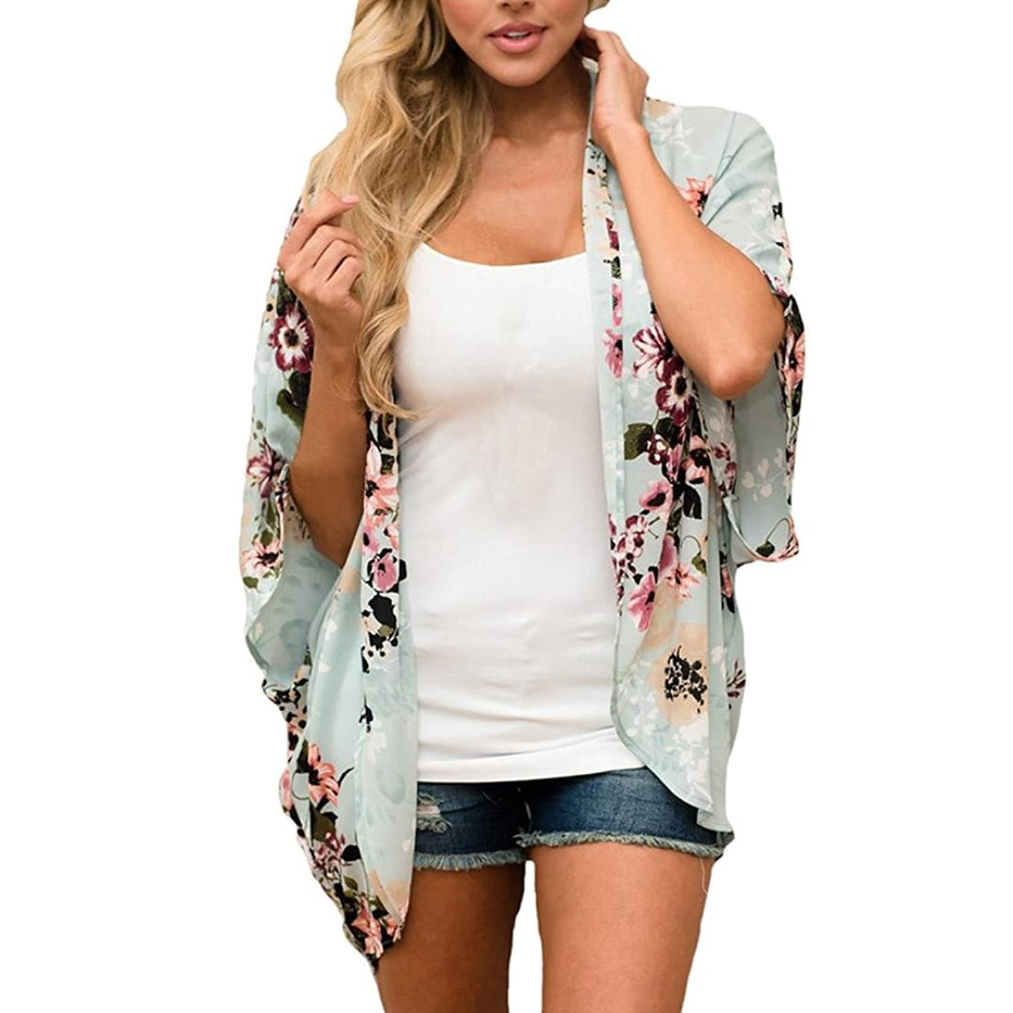 ManxiVoo Women Floral Cover Up Chiffon Kimono Sunscreen Shirt Loose Swimsuit Bikini Shawl Wraps Bikini Smock Tops