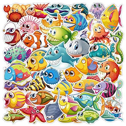 YZFCL Ocean World Cute Fish Stickers Skateboard Fridge Guita
