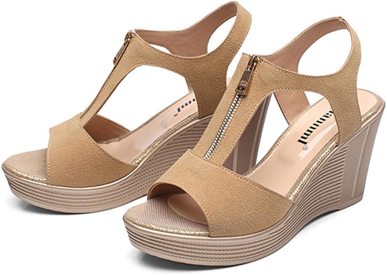 Navoku Women's Leather Zippered Wedge Sandles Sandals
