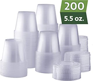 [200 Sets - 5.5 oz.] Plastic Disposable Portion Cups with Lids, Souffle Cups, Condiment Cups