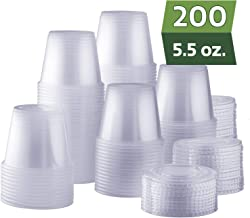 [200 Sets - 5.5 oz.] Plastic Disposable Portion Cups with Lids, Souffle Cups, Condiment Cups