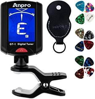 Anpro GT-1 Tuner Guitar Tuner 360 Degrees Rotation Digital Stamp Screen LCD 12PCS Picks with Pouch for Violin, Ukulele Chr...