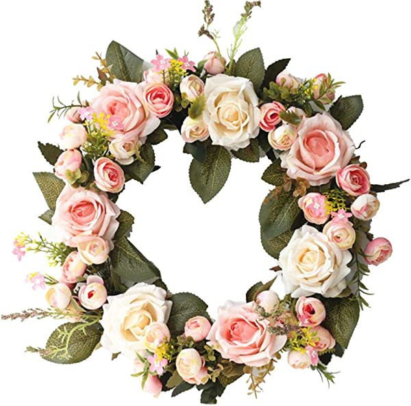 ZzJiaCzs Artificial Rose Flower Faux Rose Flower Wreath Window Door Decoration Ornament Showcase Garland Pink