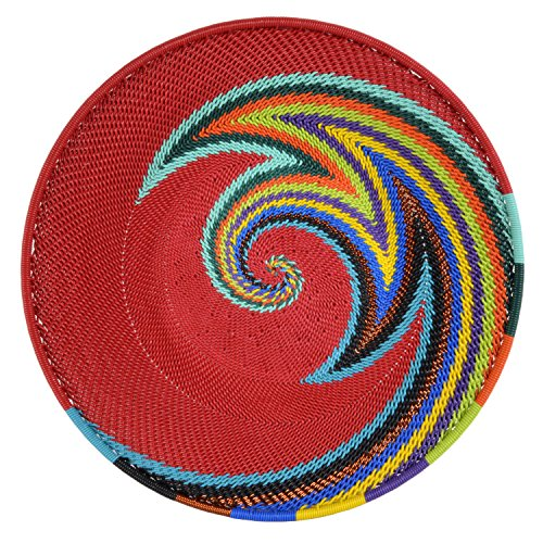Bridge for Africa Fair Trade Zulu Telephone Wire 8-inch Platter Basket, Red Rainbow