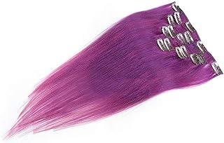 BOBIDYEE 本物の髪の拡張子で女性の紫色のストレートクリップ20インチフルヘッド7個ウィッグパーティーウィッグ (Color : PHOTO COLOR)