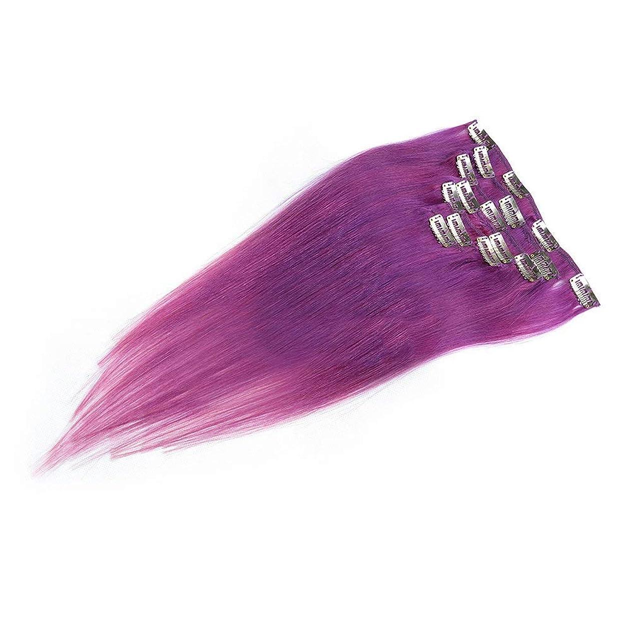 乳白ドナウ川しかしかつら 本物の髪の拡張子で女性の紫色のストレートクリップ20インチフルヘッド7個ウィッグパーティーウィッグ (色 : PHOTO COLOR)