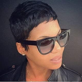 Yviann Short Pixie Cut Wigs Short Synthetic Wigs for Black Women Short Straight Wigs Black Cute Summer Wigs 1B Color