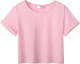 Boyoo Girl's Short Sleeve T Shirt Kids Fashion Tee Tie Dye Crewneck Rolled Cuffs Crop Top for 5-14 Years