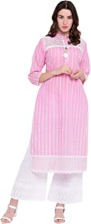 f1c8ba95024bc Pinky Pari Women's Chikankari Cotton Straight Fit Stiylish Kurta and Flared  Palazzo set