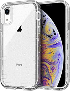 iPhone XR Case, Anuck Clear Glitter Case 3 in 1 Heavy Duty Defender Shockproof Full-Body Protective Case Anti-Scratch Hard PC Shell & Soft TPU Bumper Cover for Apple iPhone XR 6.1 inch, Clear Glitter