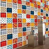 aipipl 10 Unids/Set 1010cm Pegatinas de Patrón de Mosaico Creativo Azulejo Cocina Baño Decoración de Piso Mural Arte Calcomanías Papel Tapiz Decoración para el Hogar Pet Etiqueta de la Pared Deco