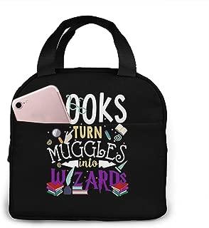 Gibeauwlu Books Turn Muggles Into Wizards Unisex Lunch Bag Tote Handbag Lunchbox